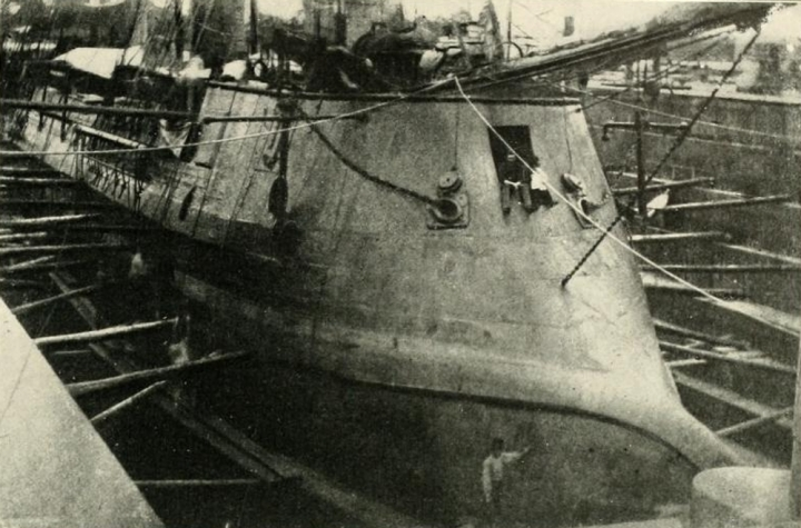 The CSS Stonewall in drydock, probably in France during construction.  Millers Photographic History of the War vol. 6.
