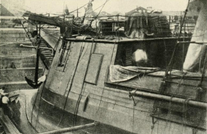 Close up view of the Stonewall in drydock.  Millers Photographic History of the War, Vol. 6
